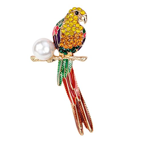 SANWOOD Multicolor Parrot Bridal Rhinestone Shiny Brooch Pin for Women