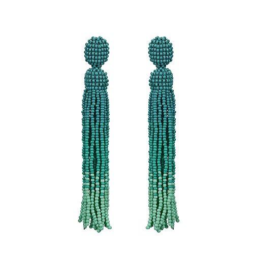 Price comparison product image BALA Bead Earrings Dangle for Women Long Beaded Dangle Tassel Earrings,Japan Seed Bead, Green