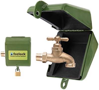 Brass Garden Faucet Wall Mount Single Hole Copper Padlock Water Tap Lock Keys