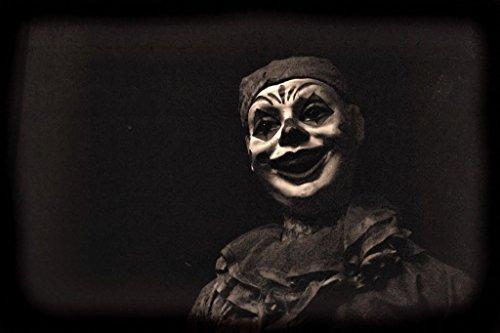 Creepy Carnival Clown Black and White B&W Photo