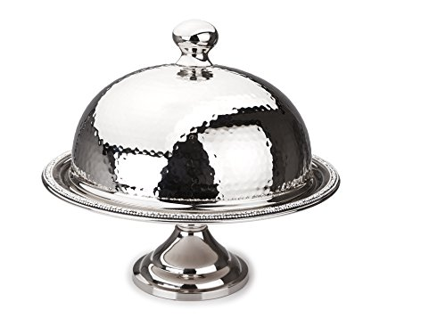 Classic Touch SDCD240 Hammered Stainless Steel Dome Cake Stand with Cover, Trimmed with Exquisite Diamonds by Classic Touch Inc.