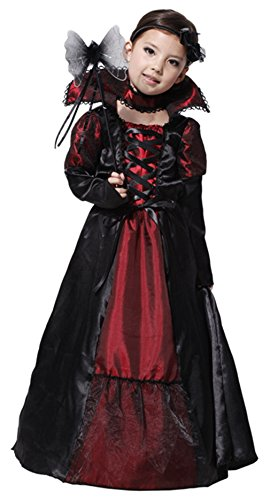 Binse Vampire Costume for Girls Kids Party Halloween Costumes Princess Costumes (4-6 Years, Black) -