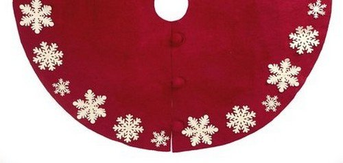 ARCADIA HOME T2 Tacked Snowflake Christmas Tree Skirt, Large, Red