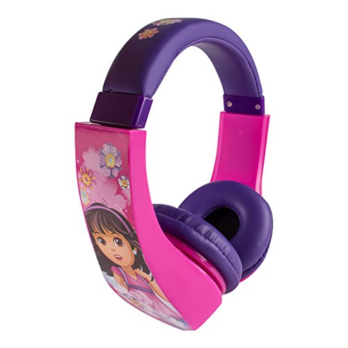 Dora and Friends 30362 Kid Safe Over the Ear Headphone w/ Volume Limiter, pink/purple by Sakar