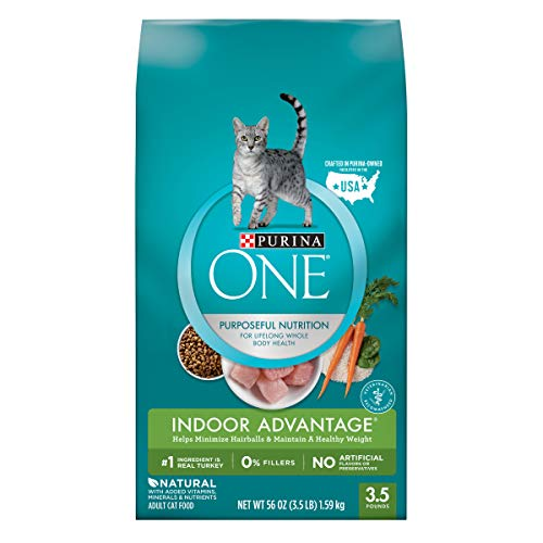 Purina ONE Hairball, Weight Control, Indoor, Natural Dry Cat Food; Indoor Advantage - 3.5 lb. Bag