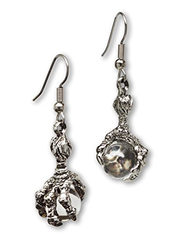 (Gothic Dragon Claw Dangle Earrings with Clear Crystal Ball Silver Finish)