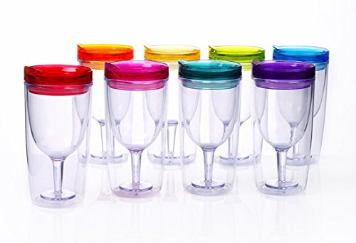 Party Wine Glass (Cupture Insulated Wine Tumbler Cup With Drink-Through Lid - 10 oz, 8 Pack)