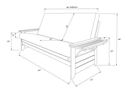 Queen Size Phoenix Espresso Frame w/ 8 Inch Mattress Microfiber Suede Futon Set Wood Sofa Bed (Black Matt, Frame Only (Queen Size))