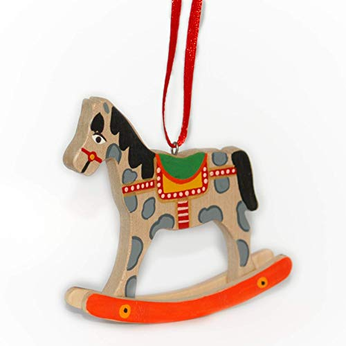 Christmas Ornament Rocking Horse Tabletop Toy Wooden Hand-painted