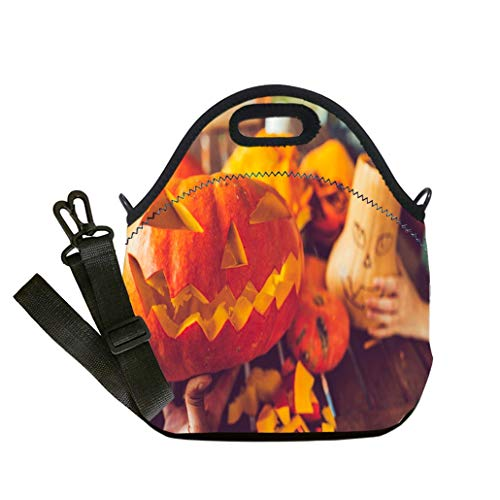 Lunch Box Insulation Lunch Bag Large Cooling Tote Bag Neoprene Insulated Lunch Tote Bag Man carving spooky face on a pumpkin in Halloween Student Company School, Multicolor, Adults and Children -