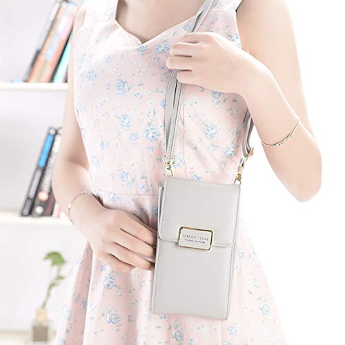 Phone Crossbody Grey Evaliana Shoulder Bag Pouch Bags Wallet Cell Smartphone Cellphone Clutch Coin Purse rOZYOwPq