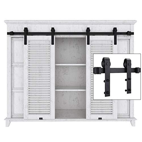 EaseLife 5 FT Cabinet Mini Double Door Sliding Barn Door Hardware Kit - Heavy Duty | Sturdy | Slide Smooth Quiet | Apply for Wardrobe Window TV Stand Closet | 5FT Track Double Door Kit