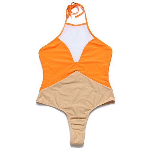 Erica Bikinis Halter Bikinis de Mujer de una pieza de traje de baño Patchwork Contraste inalámbrico Padless Bra Orange