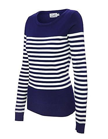 Breton Stripe Crew Neck Versatile Long Sleeve Pullover Sweater w/ Button Design (Small, SW710 - Breton Stripe