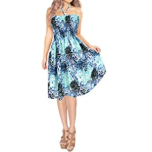 HAPPY BAY Ladies 3D HD DRT Beach Wraps and Cover ups Women's Deep V Neck Drawstring Bohemia Beach Dress Short Sleeves…