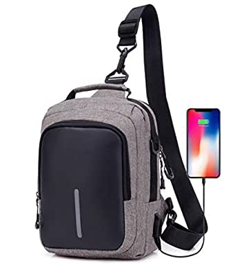 DOUN Cross Body Messenger Bag Shoulder Backpack Sling Bag with USB Charging Port for Women Men Girls Boys Grey Size: One_Size