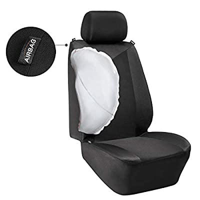 Elantrip Waterproof Front Car Seat Covers Water Repellent Bucket Seat Cover Universal Fit Airbag Armrest Compatible for Auto SUV Truck Van, Black 2 PC: Automotive