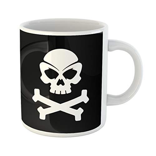 Semtomn Funny Coffee Mug Crossbones Pirate Skull Black Bones Brain Collection Death Dice 11 Oz Ceramic Coffee Mugs Tea Cup Best Gift Or Souvenir]()