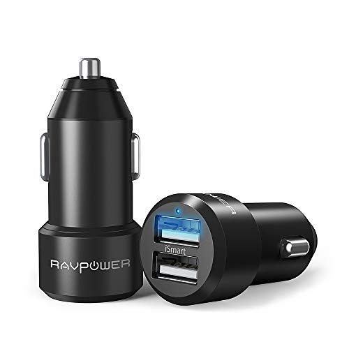 USB Car Charger 2-Pack RAVPower 24W 4.8A Metal Dual Car Adap