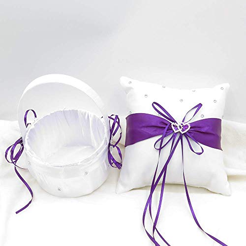 TRUE LOVE GIFT Ring Bearer Pillow and Wedding Flower Girl Basket Set Love Rhinestones Satin Collection Wedding Anniversary Celebrations Party Decoration (Purple)