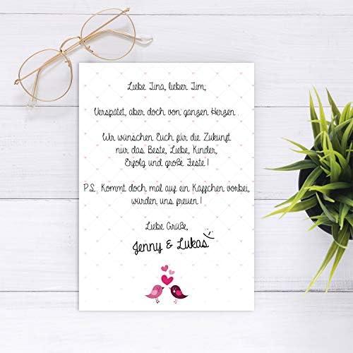 Briefpapier Set Verliebte Vögel I 50 Blatt Motiv-Papier in DIN A4 I pink weiß I Valentinstag Liebe Einladung Hochzeit ohne Umschlag I dv_019