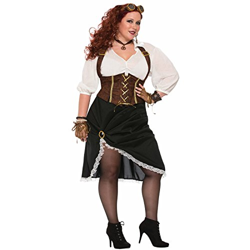 Forum Women's Steampunk Lady Costume with Corset Style Dress, As Shown, (Halloween Corset Costumes 2017)