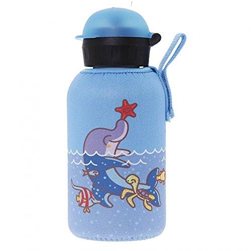 Laken Thermo HIT Thermosflasche Edelstahl Kinderflasche Schmale Öffnung 350ml mit Neopren-Bezug Katuki Saguyaki Dolphin
