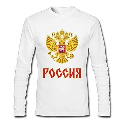 MAT Q VO Men's Team Russia 2016 World Cup Of Hockey Logo Long Sleeve T Shirts/Tee