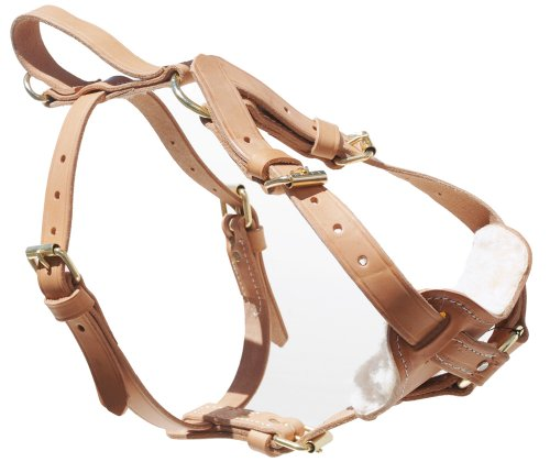 Signature K9 Leather Tracking Harness, Large, Tan (Leather Halter Harness)