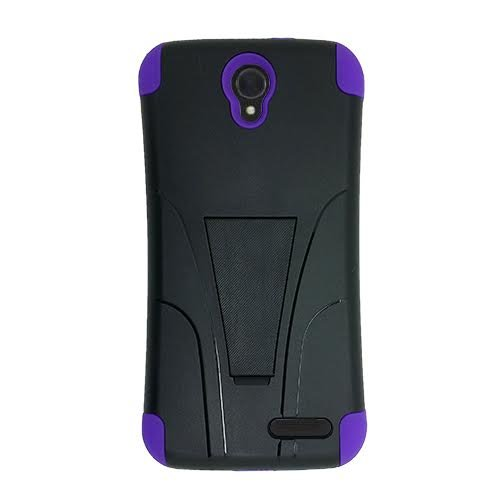 Phone Case for ZTE ZMAX-GRAND LTE , ZTE ZMAX-Champ 4G LTE (Total Wireless) Case, Warp 7 (Boost Mobile)/ ZTE Grand X 3 (Cricket Wireless) Hybrid Cover Case Kickstand + Screen Protector (Purple-black)