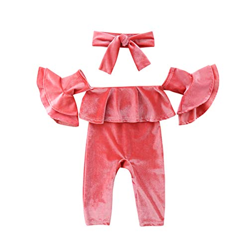 (2PCS Baby Girl Velvet Outfits Set Off Shoulder Ruffle Princess Sleeve Romper Jumpsuit Coverall + Bowknot Headband (Pink, 0-6M))