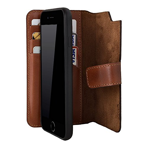 iPhone 6 Plus/iPhone 6S Plus Leather Case by Burkley, Magnetic Detachable Wallet Folio Case with Snap On Cover for Apple iPhone 6 Plus/iPhone 6S Plus (Burnished Tan)