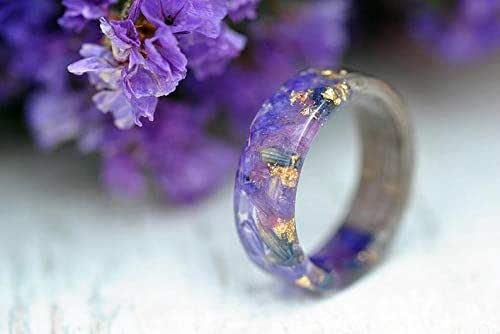 Pressed Flower Resin Ring Violet Resin Ring Gold Flakes Ring Womens Gift Nature Inspired Ring Boho Ring