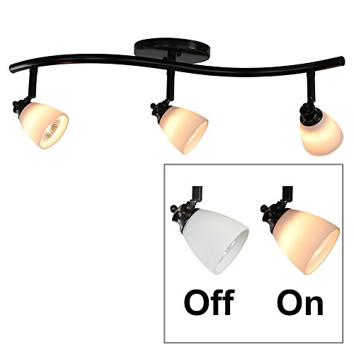 Classic Two Foot Track (Direct-Lighting 3 Lights Adjustable Track Lighting Kit - Dark Bronze Finish - White Glass Track Heads - GU10 Bulbs Included. D268-23C-DB-WH)