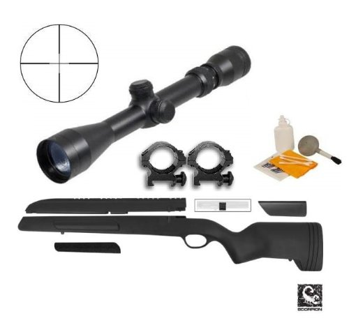 ATI Mauser 98 Rifle Stock Scorpion Recoil Buttpad, Weaver Scope Mount & Cheek Rest + Ultimate Arms Gear 2-7x32 Duplex Reticle Long Eye Relief Scope + Scope Picatinny Rings + Lens Covers - Turkish Mauser Scope Mount