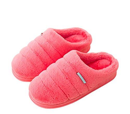 Hausschuhe, Winter-Baumwoll-Pantoffeln, Damen dicken Boden einfaches Paket mit Innen-home home Holzboden rutschfeste weiche untere warme Schuhe red