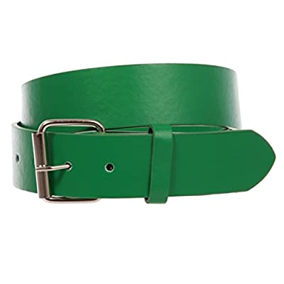 """1 1/2"""" (38mm) Snap On Plain Leather Jean Belt With Roller Buckle"""