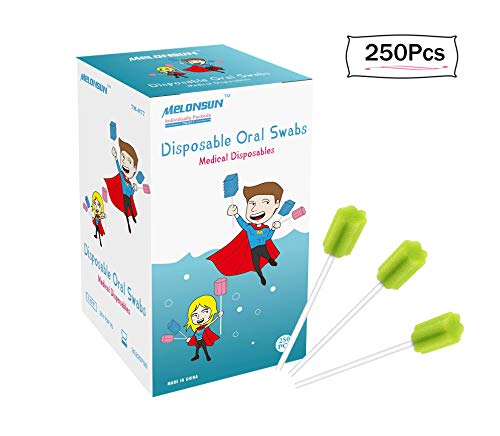 Disposable Toothettes Oral Swabs unflavored, MELON Sterile Sponge Toothbrush for Elderly, Child & Pet (250pcs, green)
