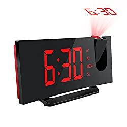 Mpow Projection Clock, FM Radio Alarm Clock, Curved-Screen Digital Alarm Clock, 5'' LED Display with Dimmer, Dual Alarm with USB Charging Port, 12/24 Hours, Backup Battery for Power Failure (Red)