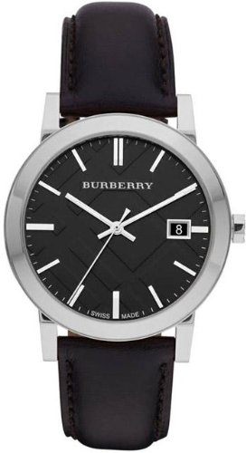 Burberry BU9009 38mm Stainless Steel Case Black Leather Anti-Reflective Sapphire Men's Watch