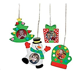 Foam Christmas Holiday Picture Frame Ornament Craft Kit - Pack of 12 Kits