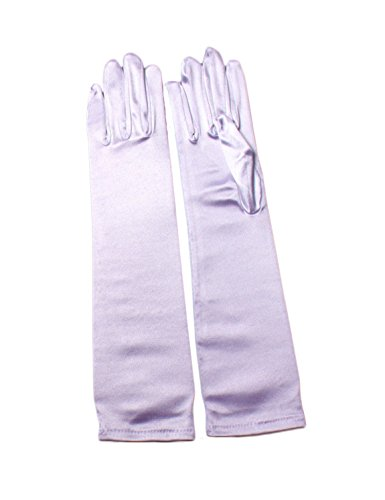 - Beiqian Classic Long Bridal Gloves with Fingers Party Dance Elbow Length Stretch Satin Glove (White)