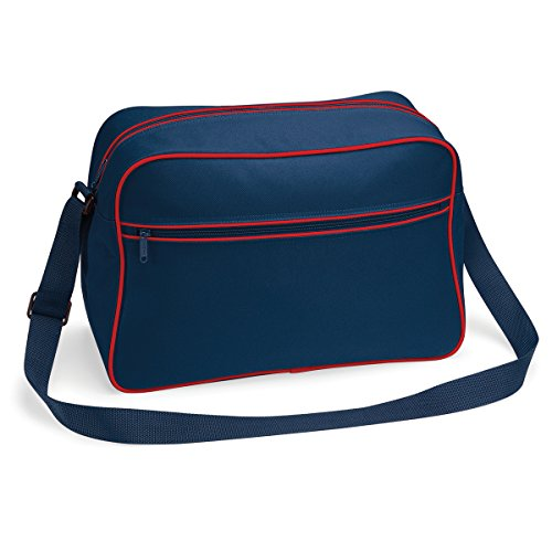 Bolso BagBase regulable con bandolera retro 48x28x18cm 18L brillante blanco real French Navy/ Classic Red