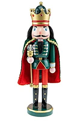 """Clever Creations - Traditional Green King Nutcracker with Scepter - Collectible Wooden Christmas Festive Holiday Decor - 100% Wood - 14"""" Tall"""