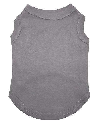 Plain Dog Shirt (Petitebella Puppy Clothes Dog Dress Plain Grey Sleeveless Cotton Tee T Shirt (Medium))
