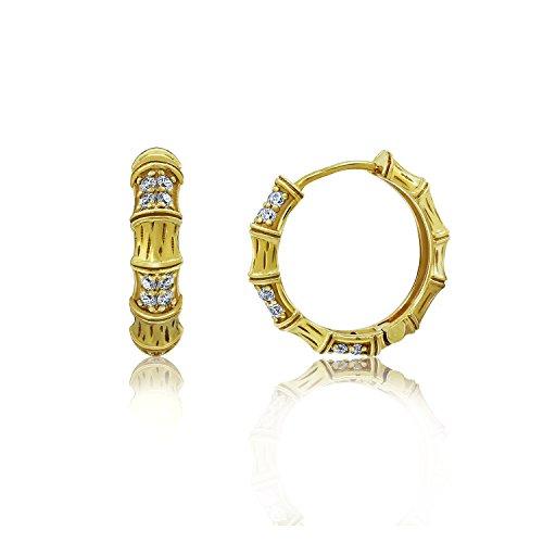 DIAMONBLISS 18K Yellow Gold Clad Cubic Zirconia Textured Bamboo Huggie Hoop - Pearl Spinel Earrings