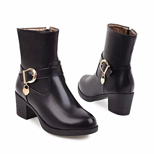 de europeo de mujeres botas Martin cinturón tacón Invierno alto con botas botas black 0vBdnqWw
