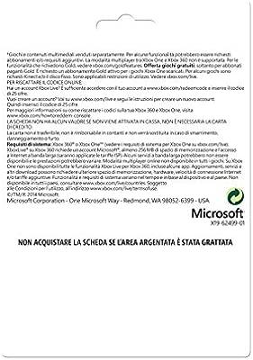 Microsoft - Live 3 Meses Gold Card (Xbox 360/One): Amazon.es ...