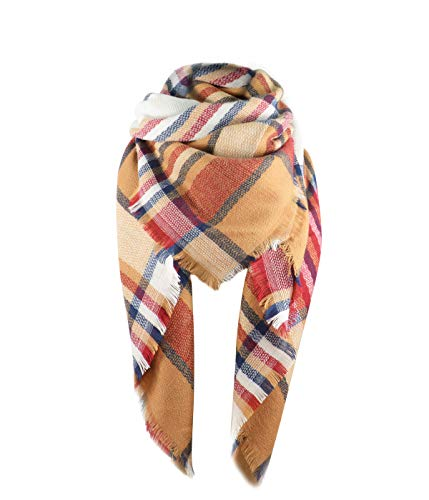 Women's Fall Winter Scarf Classic Tassel Plaid Scarf Warm Soft Chunky Large Blanket Wrap Shawl Scarves Red Orange