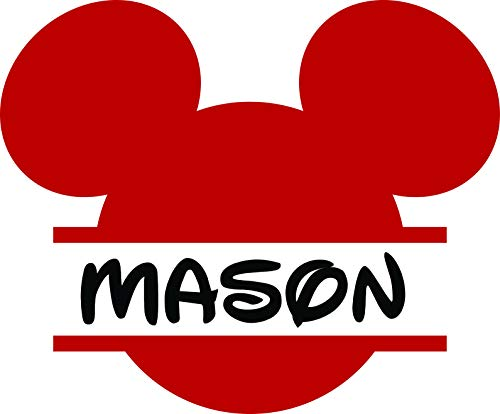 Personalized Girls Boys Name Signs - Name Wall Decal - Monogram Sticker - Mickey Mouse Decal- Cartoon Name Decal 20x20 Inches]()